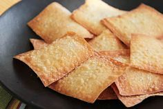 Wonton Crisps. Made these. Love them. Great low cal crunchy snack.