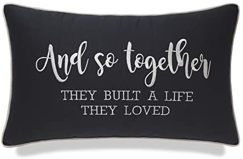 Amazon.com: YugTex Pillowcases Embroidered and So Together They Built a Life They Loved Pillow Wedding Gift Newlywed Wedding Home Decor Housewarming Gift Bedroom Decor Lumbar Pillow (12x20, and so(Grey) Whit): Home & Kitchen #newlywedbedroom