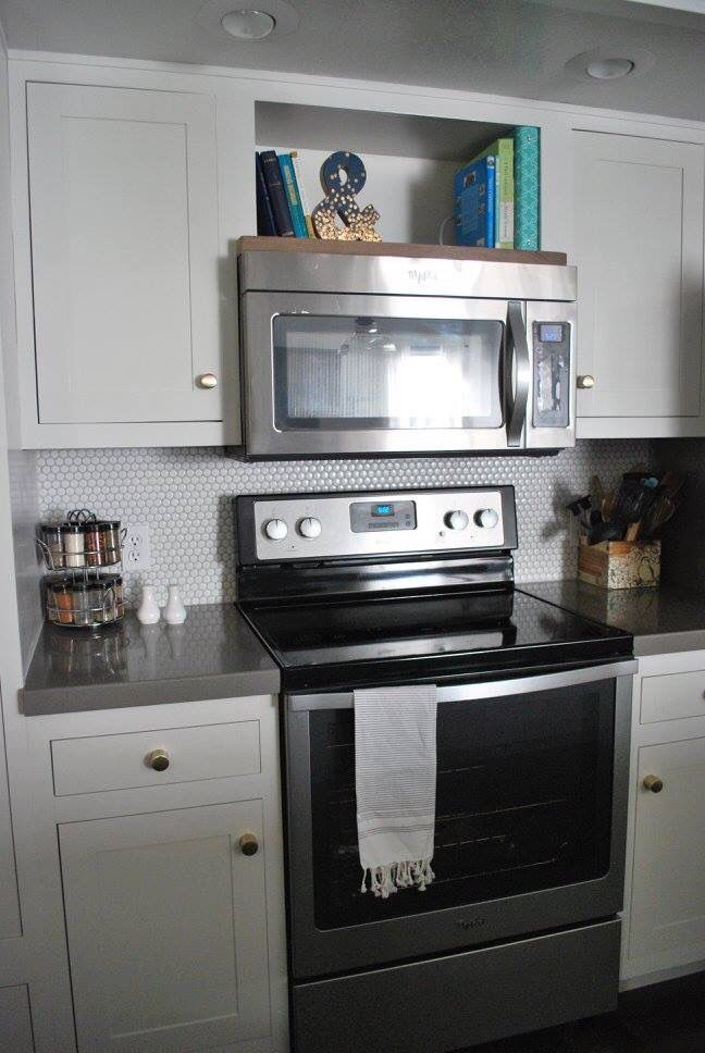 open shelf above the microwave for cook books - Kitchen Overhead Cabinets