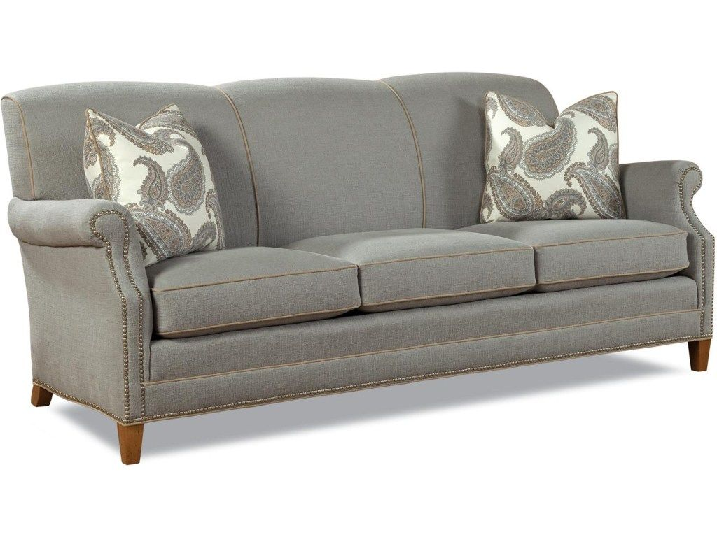 huntington house 7436 casual elegant stationary sofa with nailhead