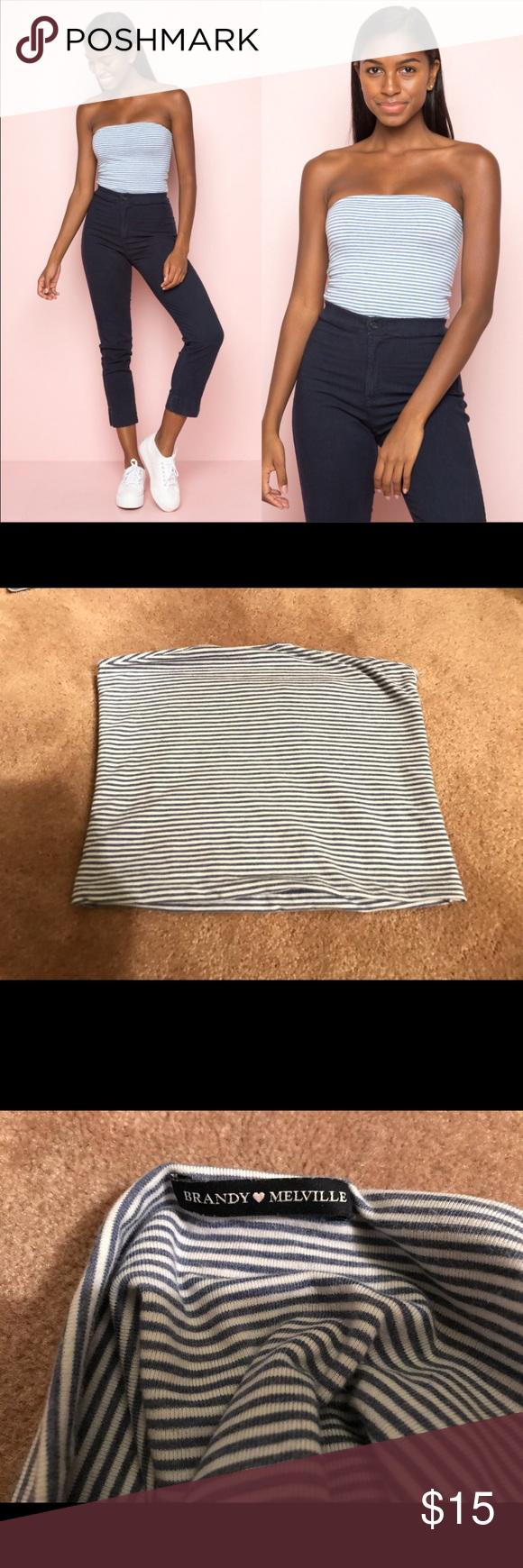 01848b0662 Spotted while shopping on Poshmark  Brandy melville blue stripe jenny tube  top!  poshmark  fashion  shopping  style  Brandy Melville  Tops