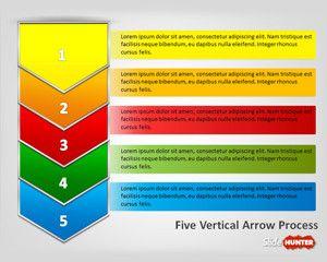 five vertical arrows process powerpoint template #diagram, Presentation templates