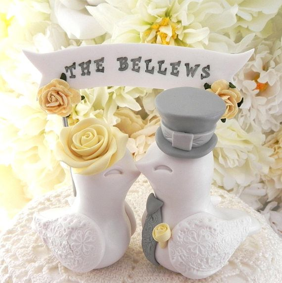 White Yellow Gray Love Birds Wedding Cake Topper Wedding Decoration ...