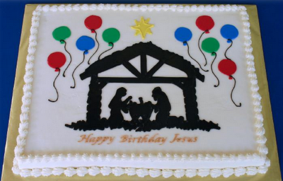Happy Birthday Jesus Cakes Balloons On The Side With Manger Top Or Sides Could Have Christmas Lights