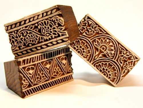 Set Of 3 Indian Wooden Block Border Stamps Wall Decor Printing
