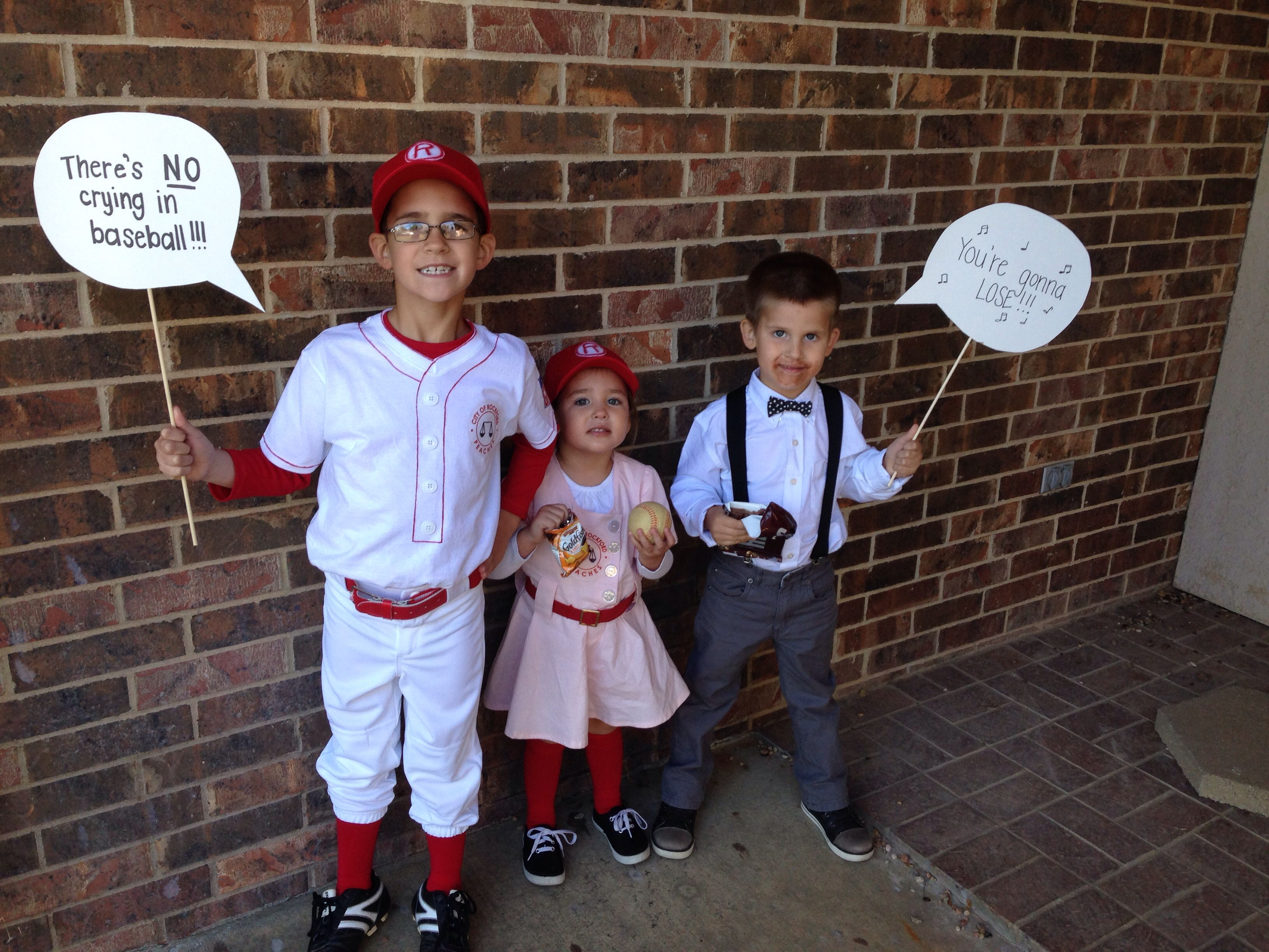 siblings halloween costume --- jimmy dugan, dottie hinson, and