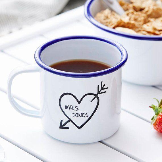 Photo of Carved heart enamel personalized mug