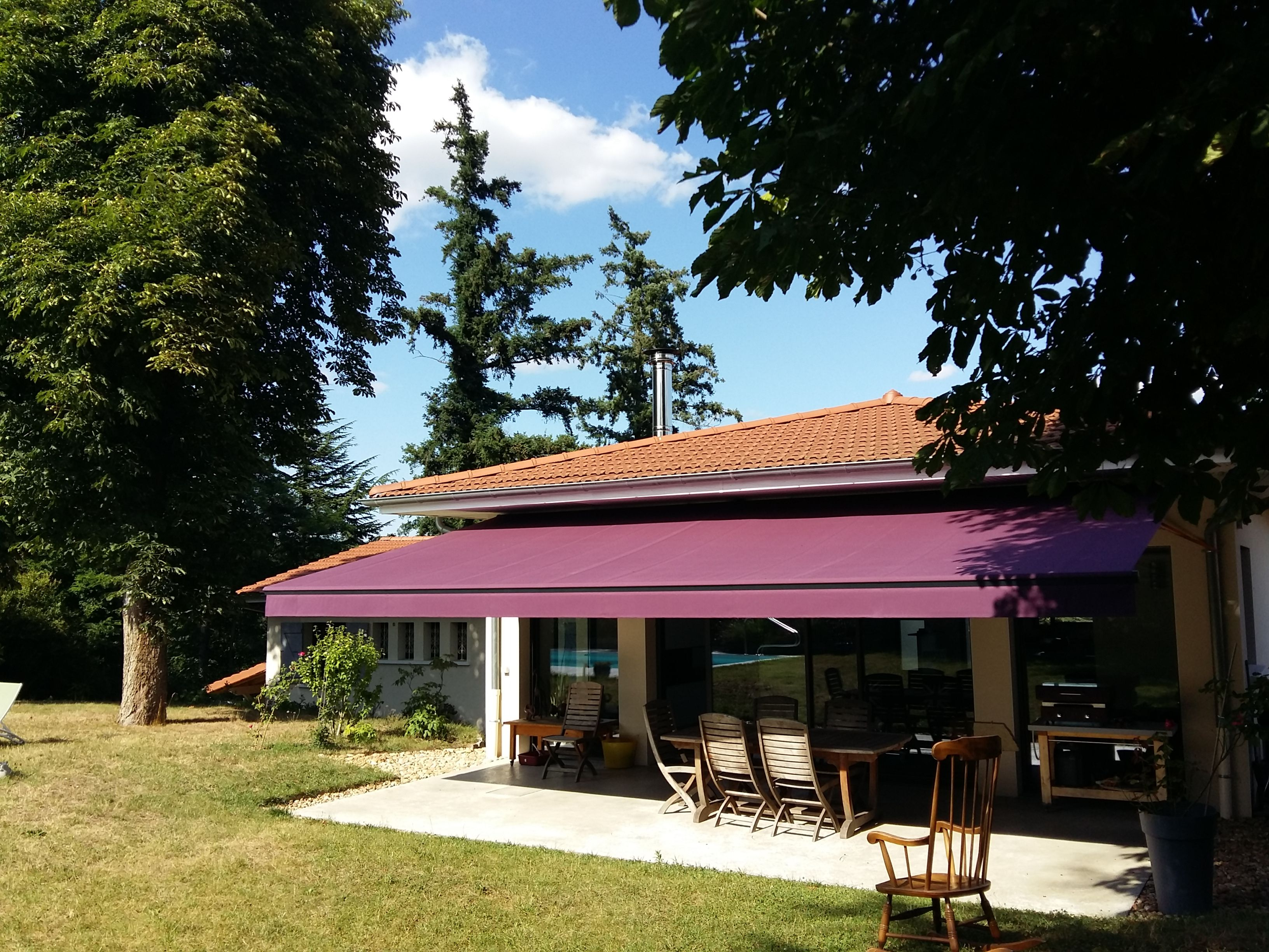 Store Retractable Exterieur Store Banne Pourpre Purple Awning Alligastore Storiste Lyon