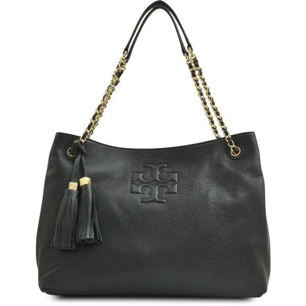 Tory Burch Thea Slouchy Shoulder Chain Tote ($470) ❤ liked on Polyvore featuring bags, handbags, tote bags, black, tory burch tote, zip tote, black studded purse, zippered tote and black shopper tote