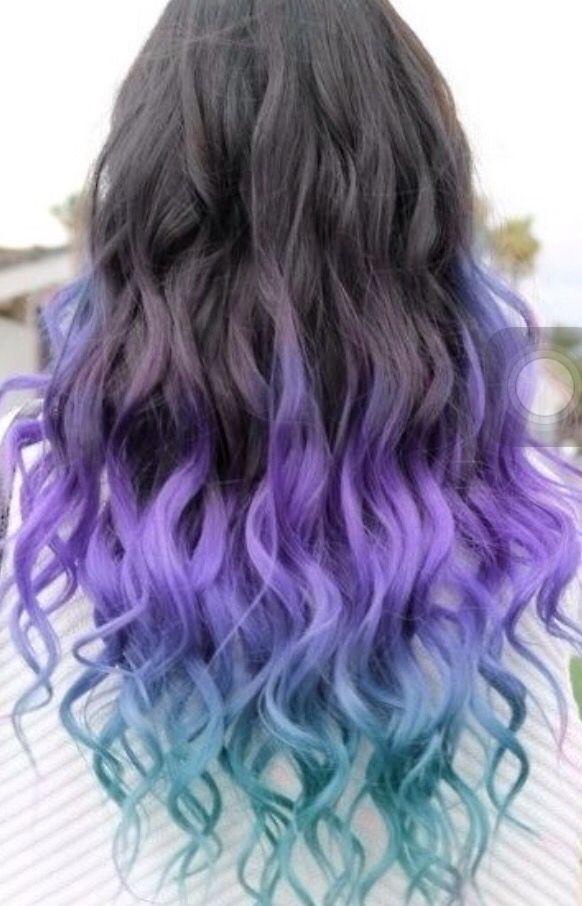 Black Purple Blue Ombre Long Weave Brazilian Hair Cool