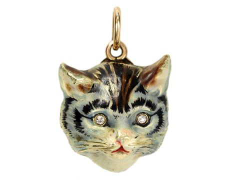 Enamel Gold Cat Pendant with Diamond Eyes c 1910 Cat Accessories