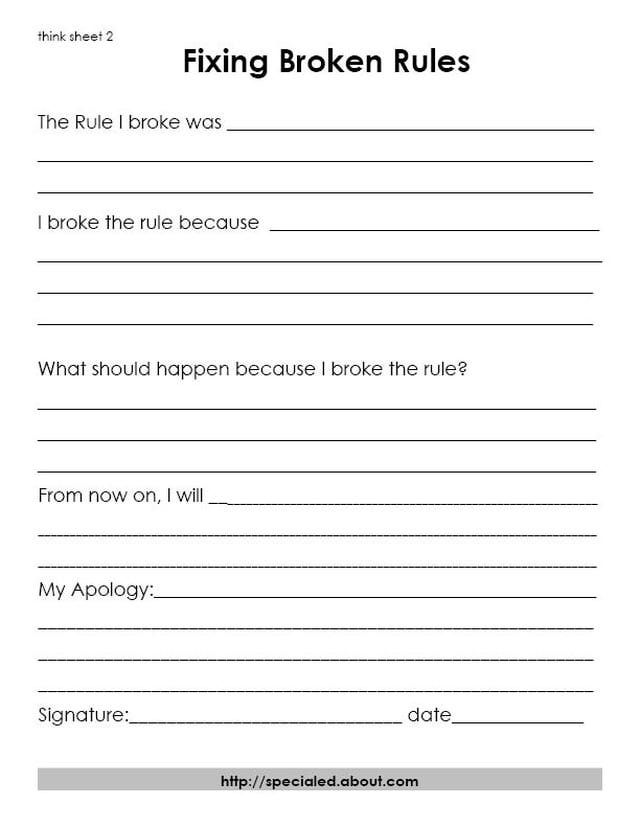 Think Sheets For Students Who Break The Rules  Forget Child