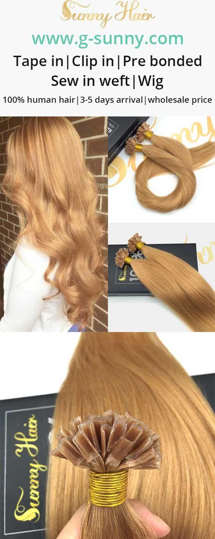 Sunny Hair Human Hair Extensions Blonde U Tip Human Hair Extensions