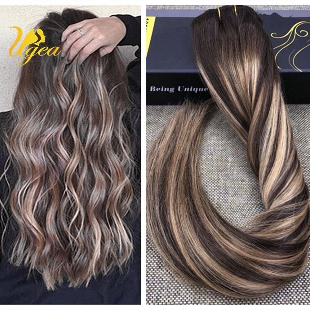 Ombre Balayage Brown With Highlight Blonde Remy Clip In Human Hair