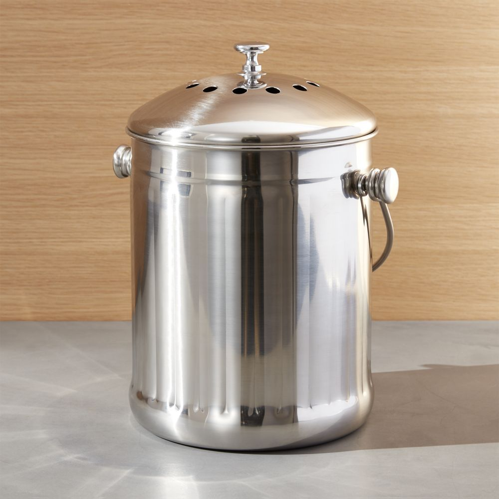 stainless steel compost pail crate and barrel