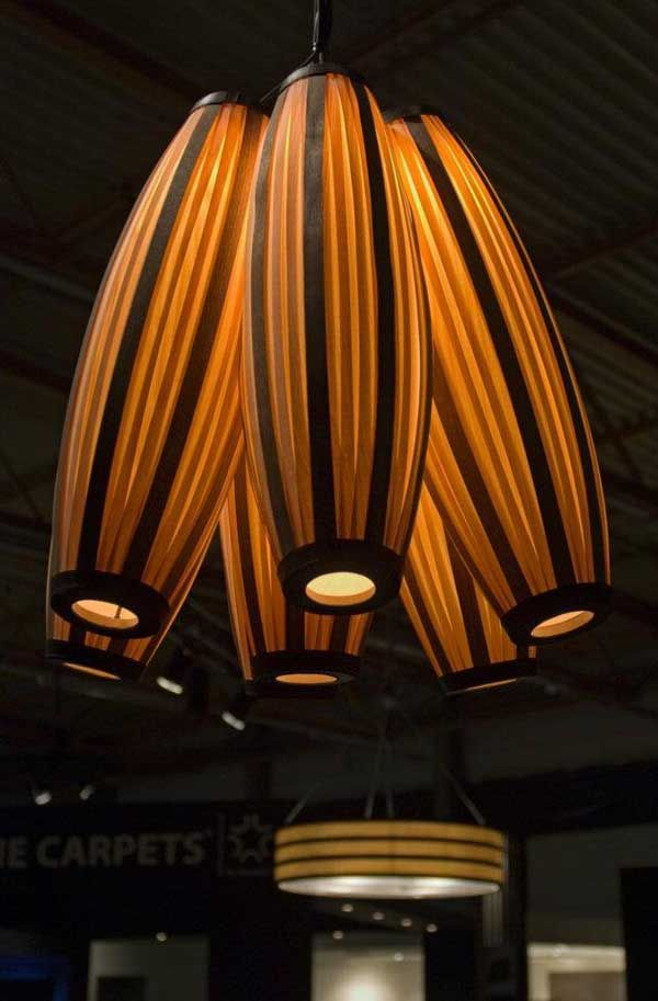 Wood veneer lighting | Unique lighting, Wood light fixture