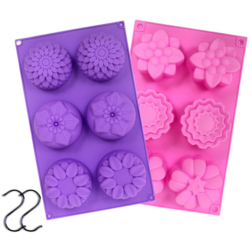 4 Cavity Soap Making Mold Supplies 2Pcs Flower Homemade DIY Silicone Soap Mold Cupcake Baking Mold Muffin Pan Silicone Soap Molds