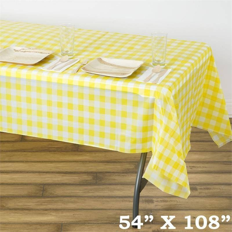 Gorgeous Checkered 54 X 108 Disposable Plastic Table Cover White Yellow Our Lovely Checkered Plastic Table Covers Plastic Tables Waterproof Tablecloth