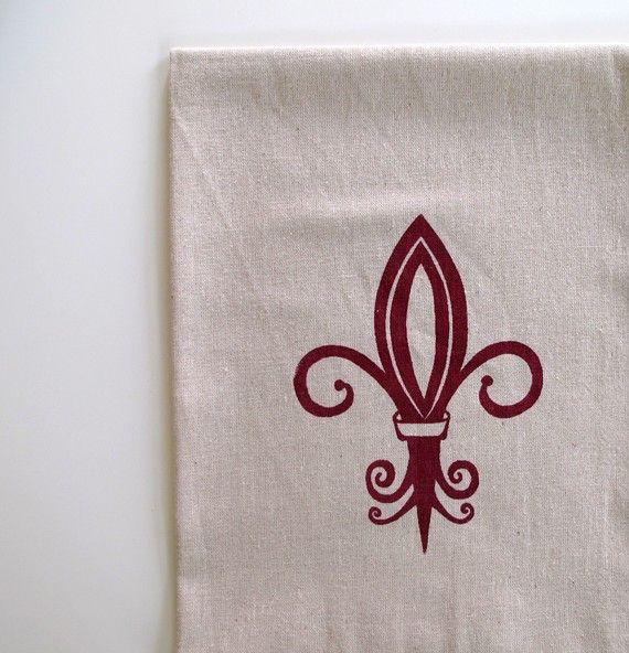 Cotton Kitchen Towel Fleur De Lis Choose Your Ink Color Ink