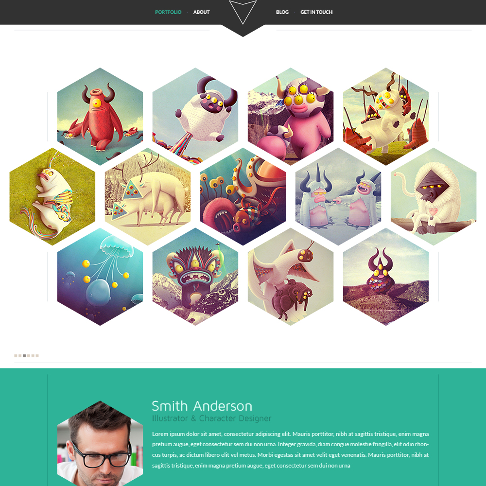 hexal is a single page portfolio template that came out as a