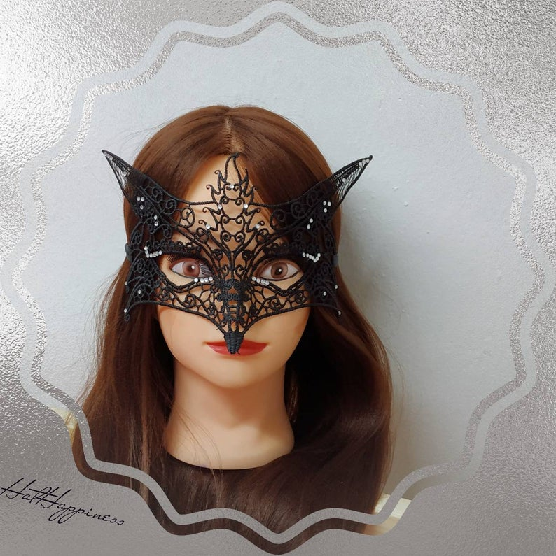 Delicate mask Fox decorated with rhinestones accessory