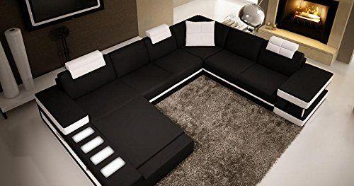 Canape D Angle Panoramique En Cuir Noir Et Blanc Marcus D