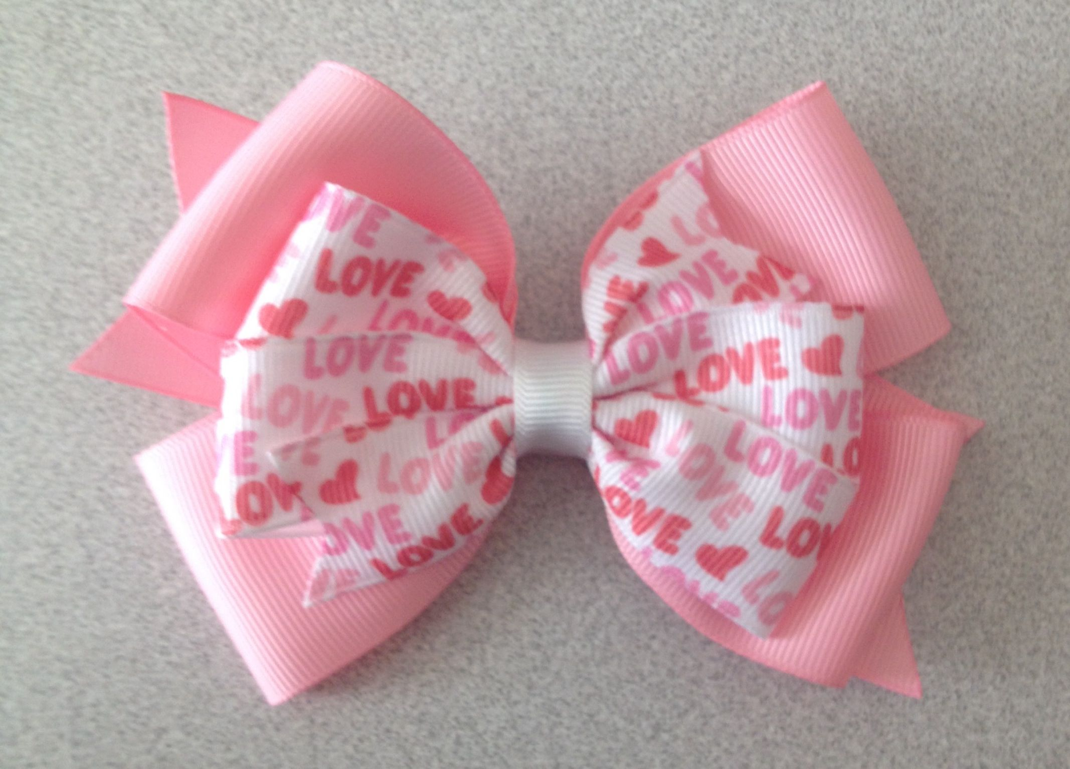 Love Pink Layered Bow -$4.00 www.facebook.com/treasuresbyhand