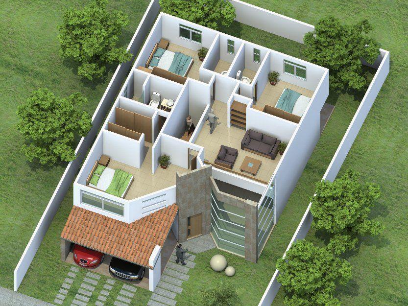 Planos de casas bien dise adas buscar con google for Casas con escaleras por dentro