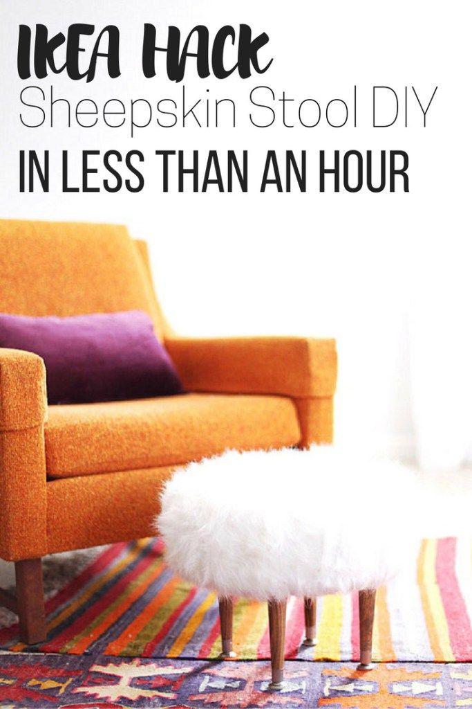 Ikea Hack Sheepskin Fur Stool Diy In Less Than An Hour Diy