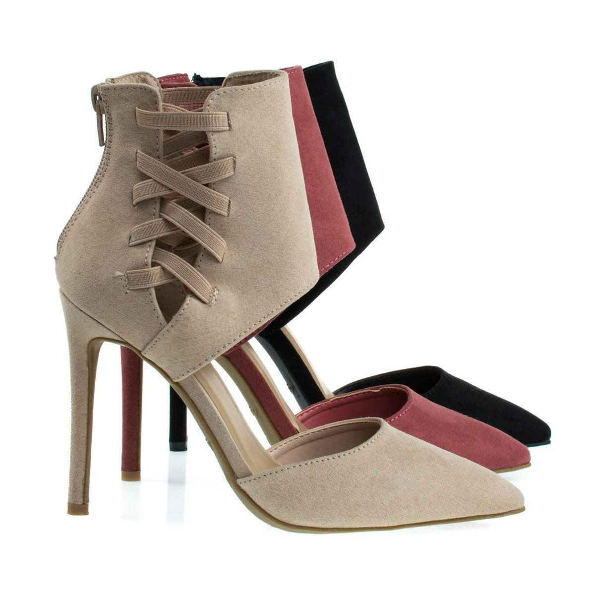 Womens Pointy Toe Pump Ankle High Cuff W Elastic Strap D/'Orsay Cut Worship-37s