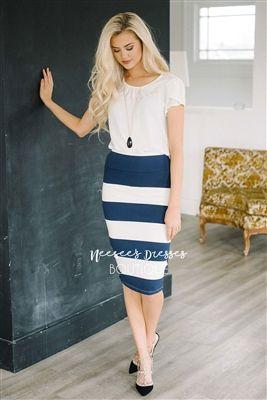 Navy White Ponte Modest Skirt for Church, Church Dresses