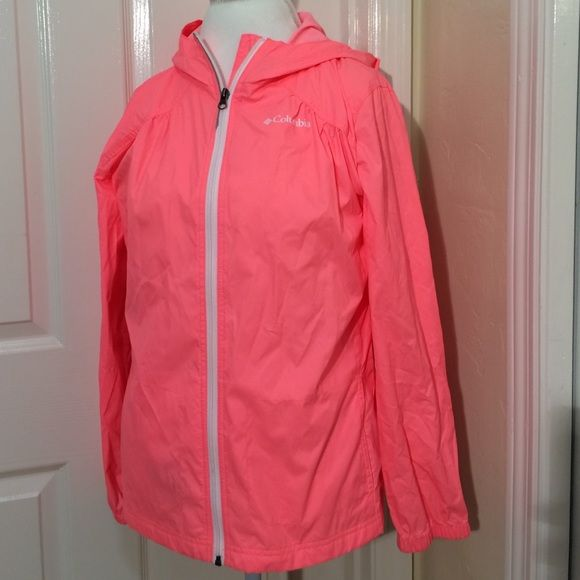 Columbia Raincoat This is an adorable light weight hot pink raincoat! It has two front pockets, full zipper, two mesh pockets on the inside, and a hood. It's in like new condition, I only wore it once. It's made of 100% nylon. This is actually a kids XL. I wore it as an adult small and it fit perfectly. Columbia Jackets & Coats Utility Jackets