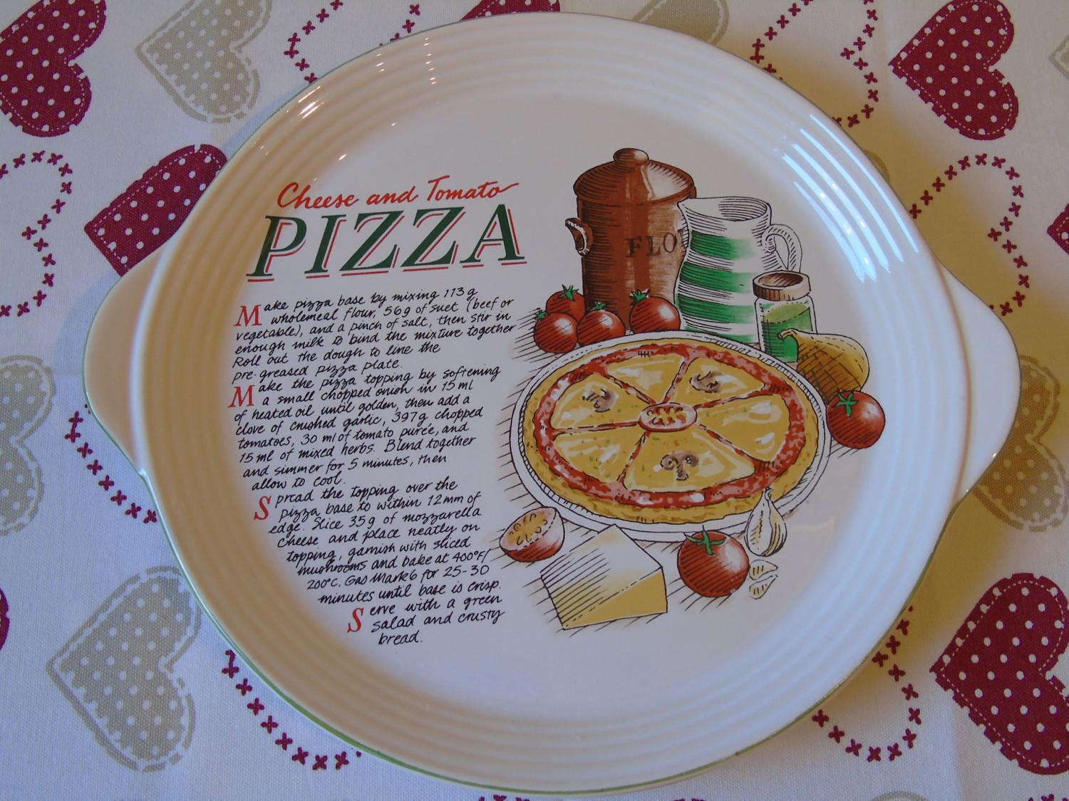 Cheese and Tomato Pizza Dish - Large Pizza Pie Plate - Unused Pizza Plate - Ceramic & Cheese and Tomato Pizza Dish - Large Pizza Pie Plate - Unused Pizza ...