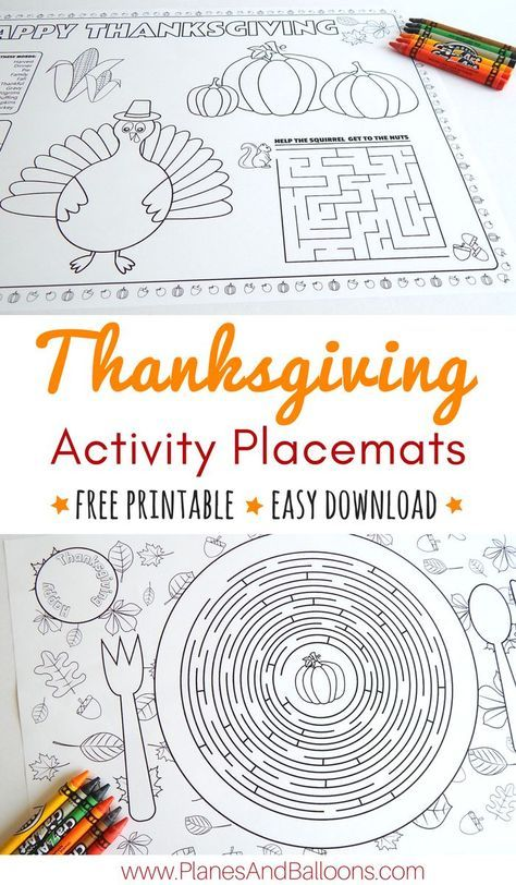 Printable Thanksgiving Placemats For Kids To Solve And Color Thanksgiving Placemats Thanksgiving Activities For Kids Thanksgiving Placemats Kids