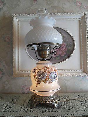Vintage Blue Floral~milk glass shade 3 Way Hurricane Lamp