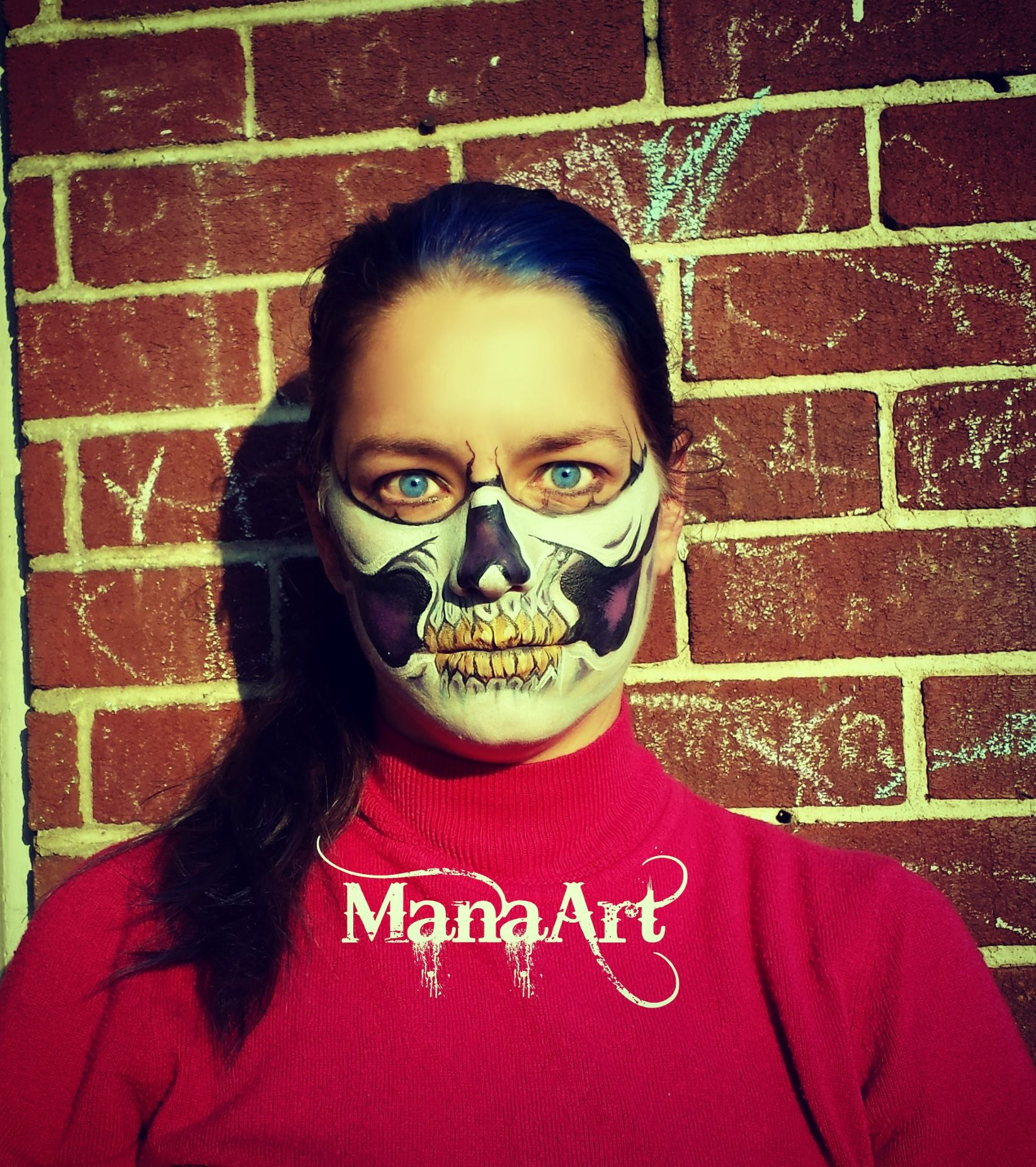 Half Skull Makeup and Face Paint ManaArtOnline.com ManaArt Face and Body Painting