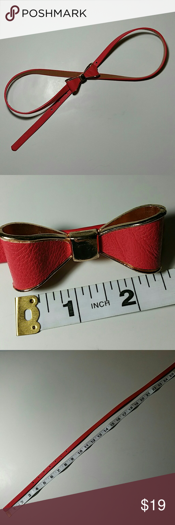 50% on 3+ Adorable Pink Bow Skinny Belt EUC No brand or markings on it. Half inch wide. Bow is made from metal and has gold accents. 28 to 32 inch waist. Accessories Belts