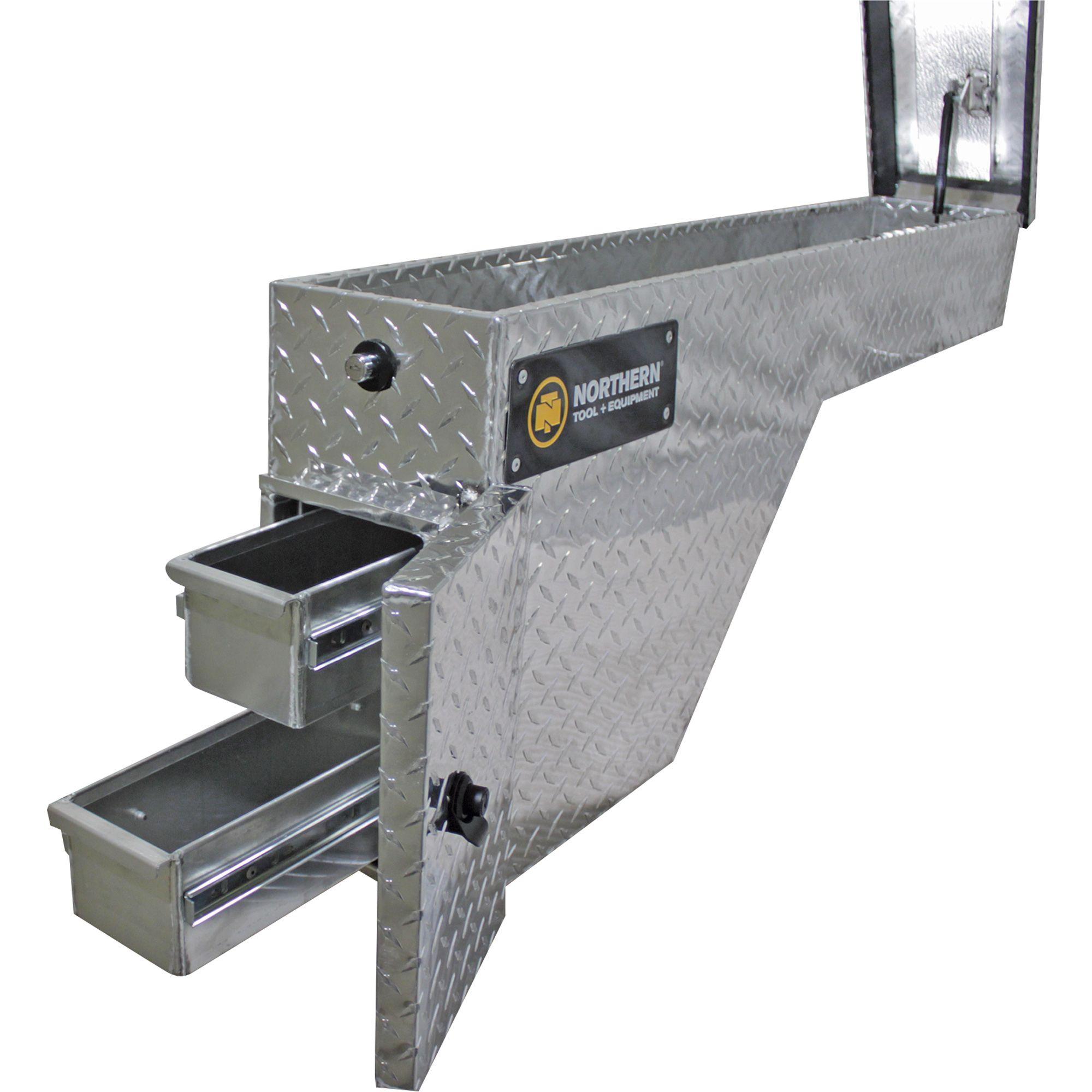 Wheel Well Truck Tool Box with 2 Drawers Aluminum, Diamond