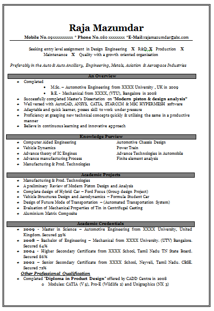 Resume Samples With Free Download Very Effective For Freshers