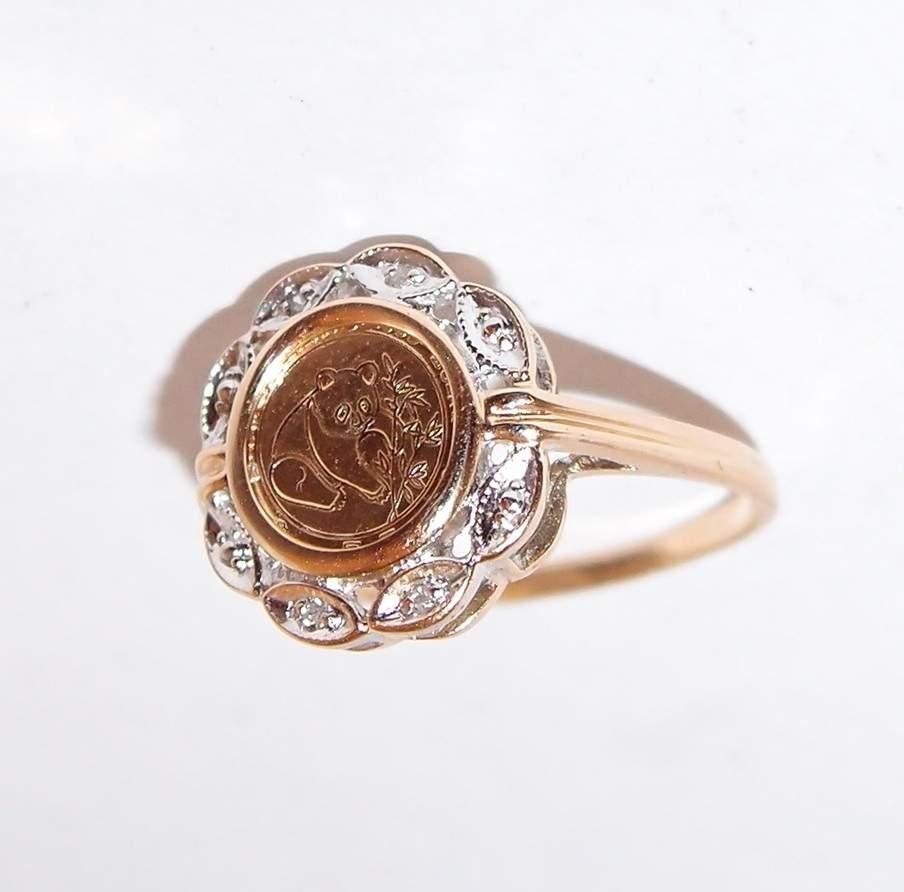10k Gold Chinese Coin Panda Ring With Diamonds Panda Ring Gold Jewelry For Sale Gold Coin Ring