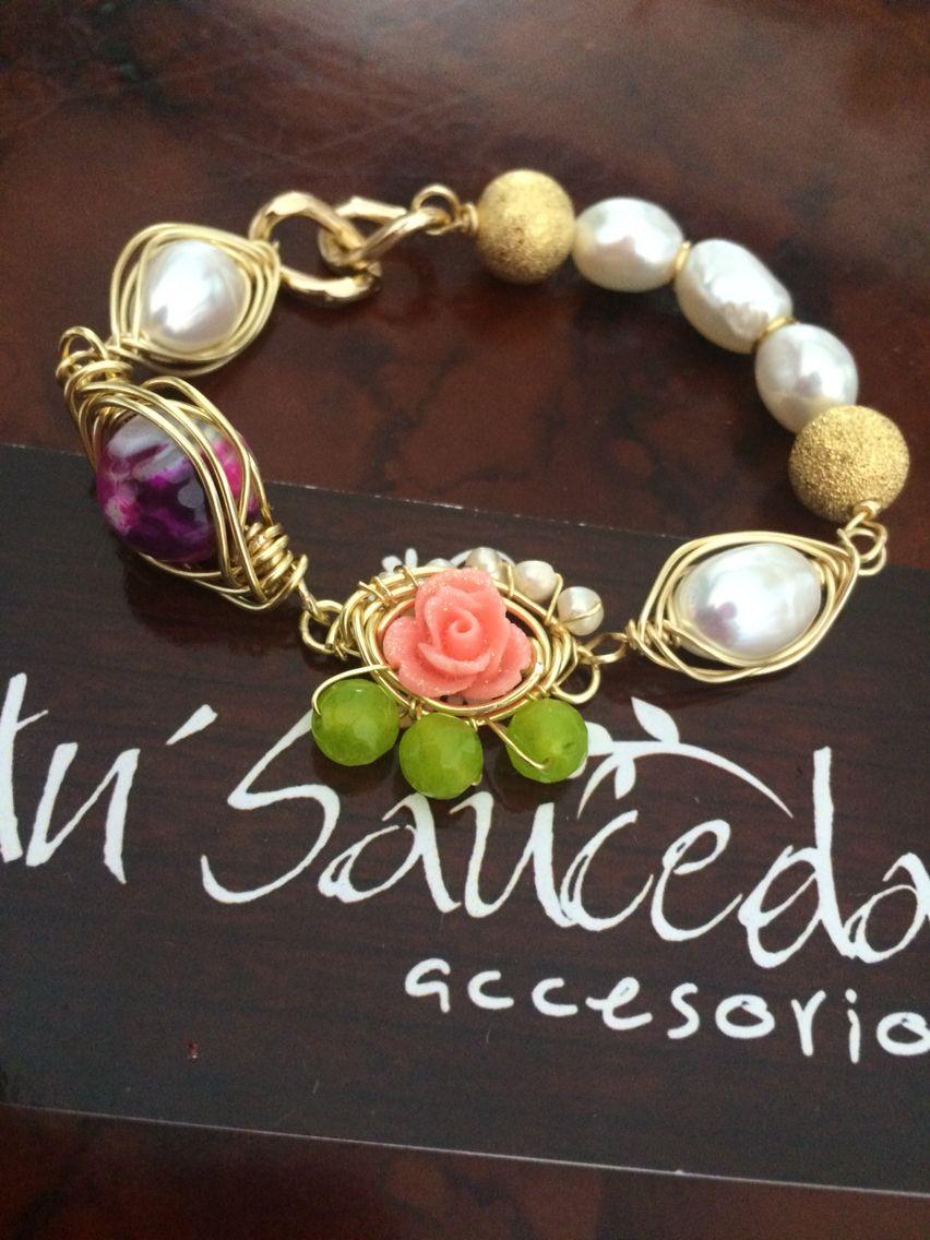 Pulseras moda perlas piedras naturales laminado joyeria for Piedras naturales