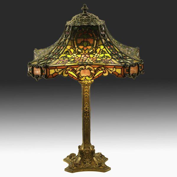 DUFFNER & KIMBERLY  Rare table lamp in Louis XV pattern, New York, ca. 1910