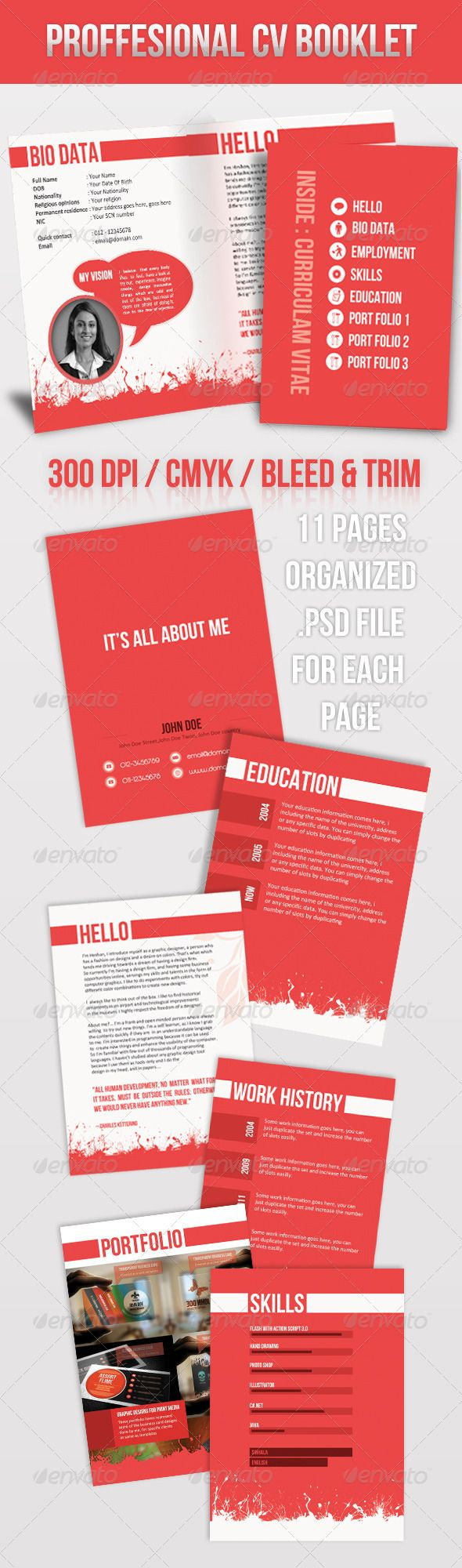Brochure Style Resume - GraphicRiver Item for Sale