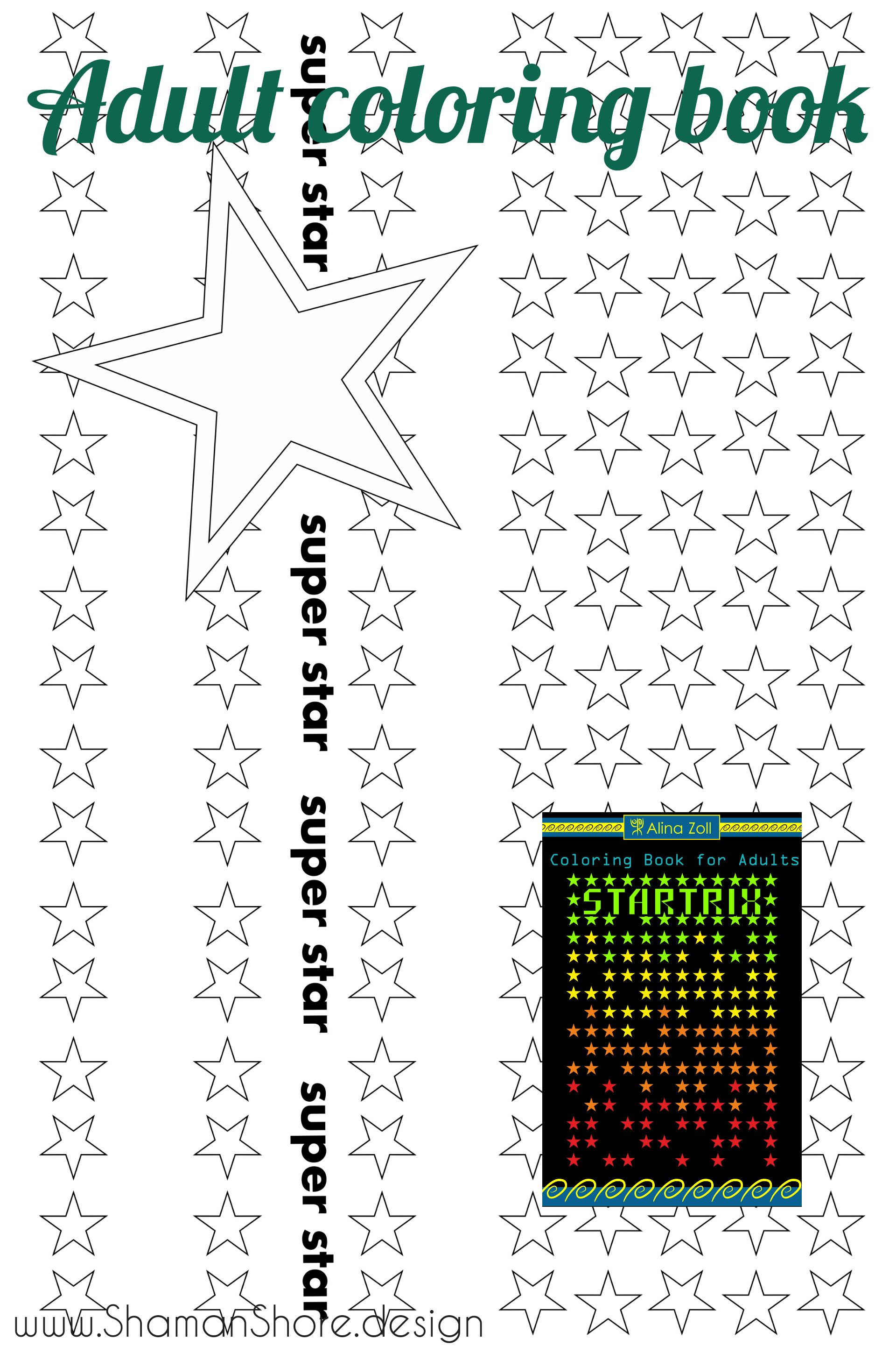 Stars Coloring Book Digital Download, Adult Coloring Pages ...
