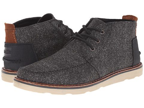 toms chukka boot black herringbone/leather  zappos
