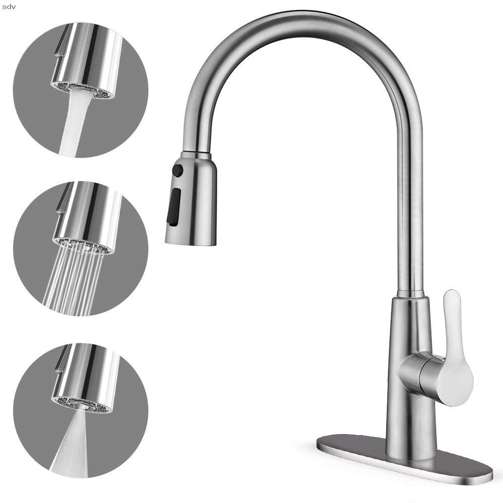 Corysel Kitchen Faucet With Pull Down Sprayer Unique 3 Water Effect High Arc Brushed Nickel Finish Stainless Steel Single Handle Pull Out Kitchen Sink Faucets