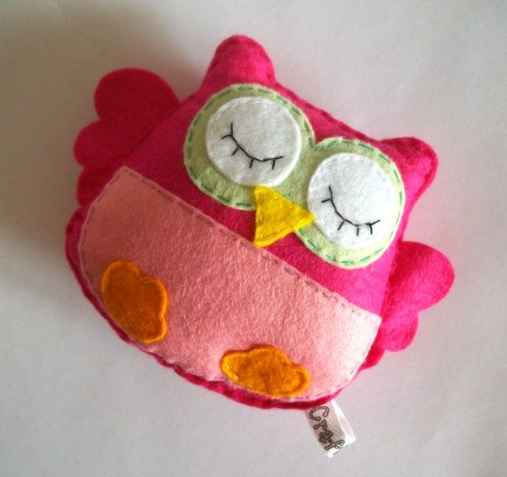 Pink owl softie made of felt Perfect for by Craftaholicgr on Etsy, €10.00