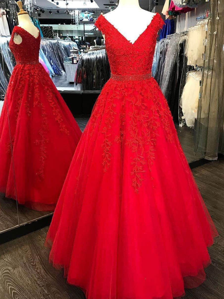 Aline vneck floorlength tulle appliqued red prom dress