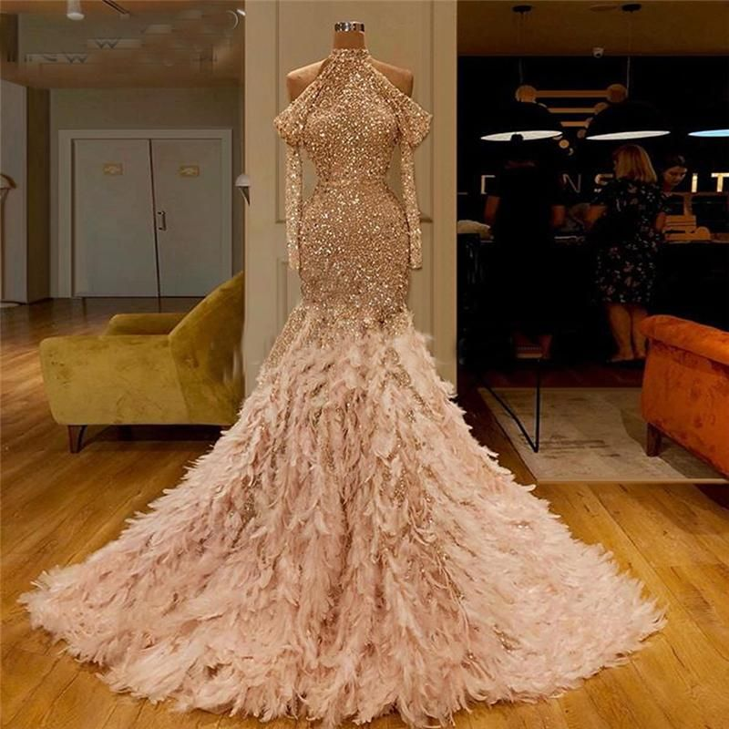 Turkish 2020 New Evening Dresses With Feathers Glitter Sequins Couture Dubai Prom Dress Customize Saudi Arabia Party Gowns Aibye In 2020 Gowns Feather Prom Dress Halter Prom Dresses