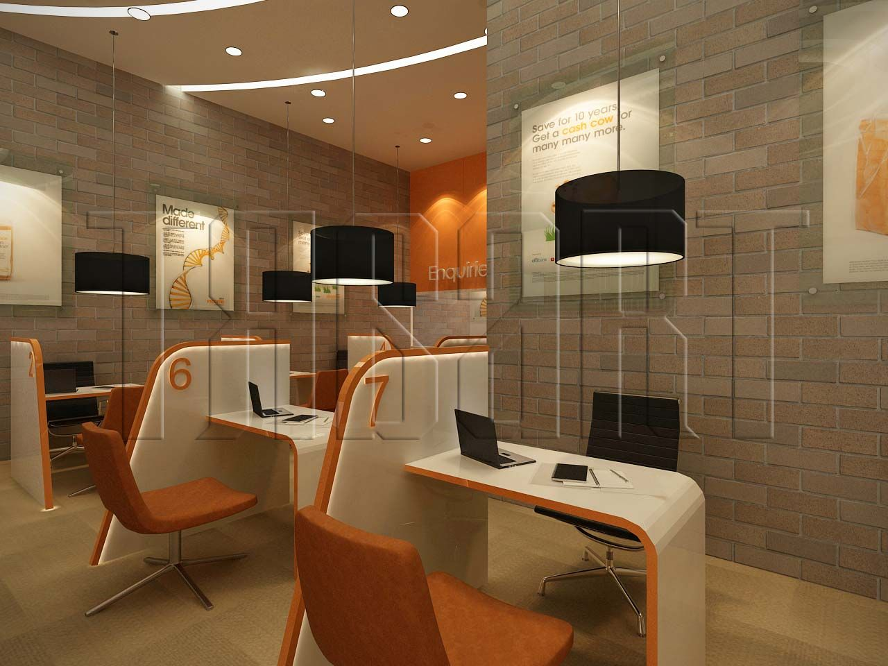 A modern futuristic look for a customer service counter for Furniture 7 customer service